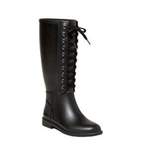 NEW! Merona Women's Rachel Lace Up Tall Rain Boots